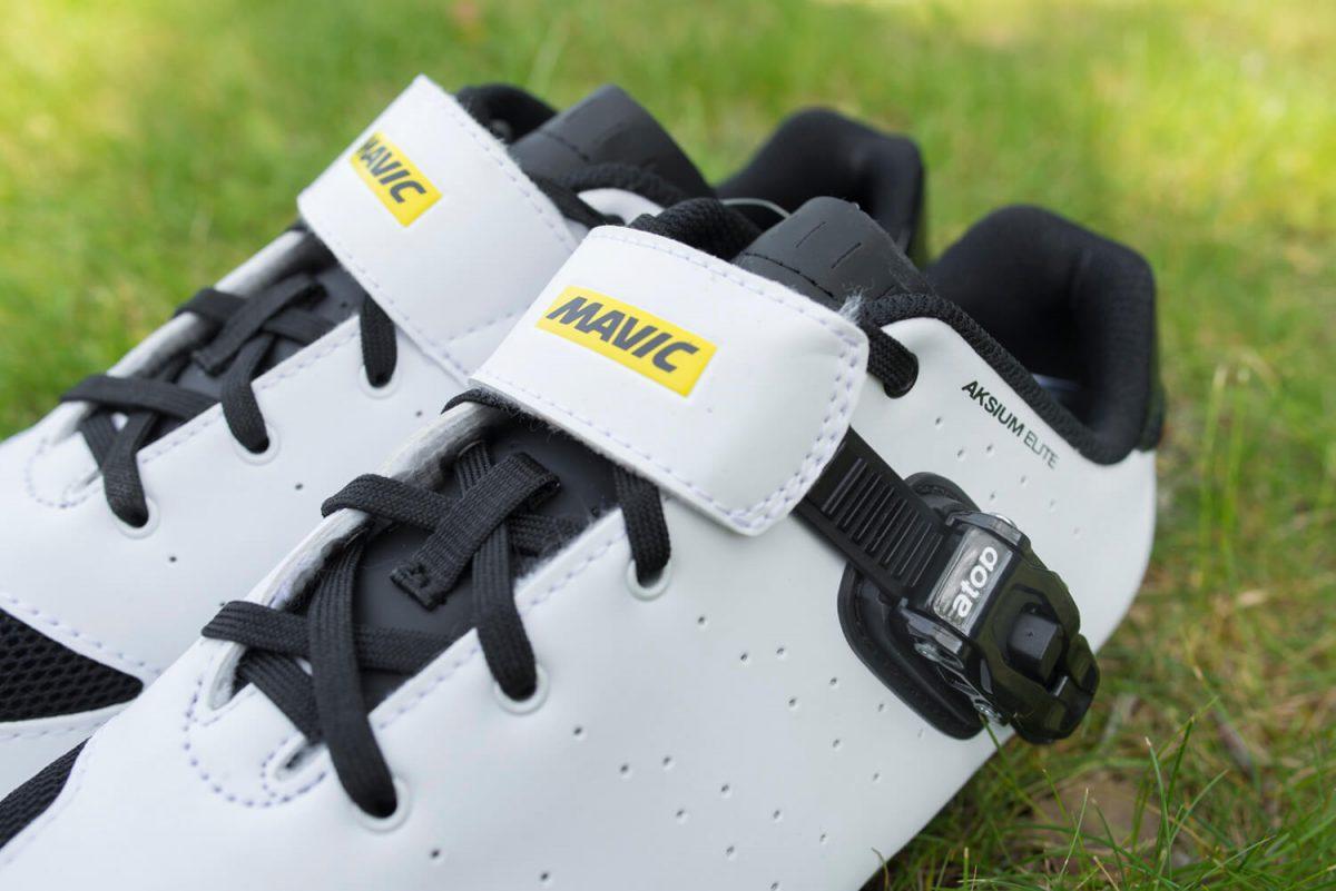 Het kenmerkend geel-zwarte logo van Mavic valt altijd op op alle Mavic Racefietsschoenen.