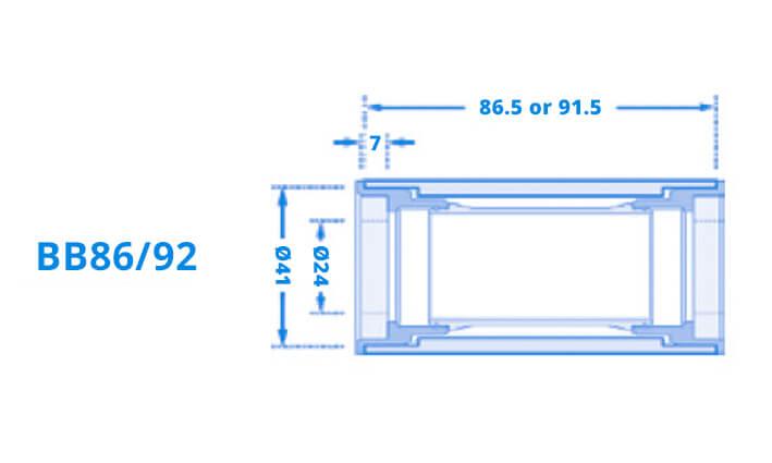 Schematische Übersicht eines BB86/92 Tretlagers