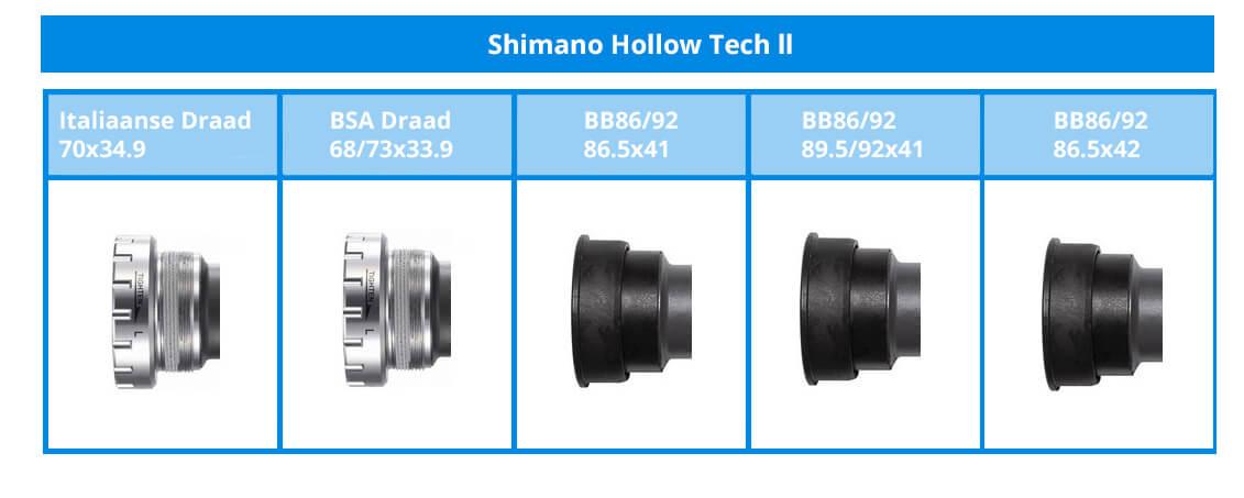 Die unterschiedlichen Shimano Hollowtech II Innenlager.