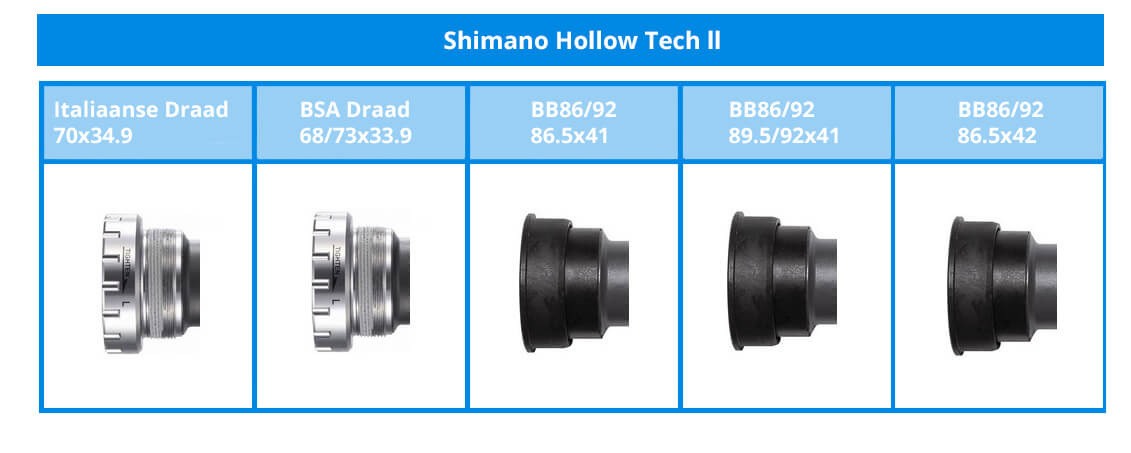 The different Shimano Hollowtech II bottom bracket bearings.