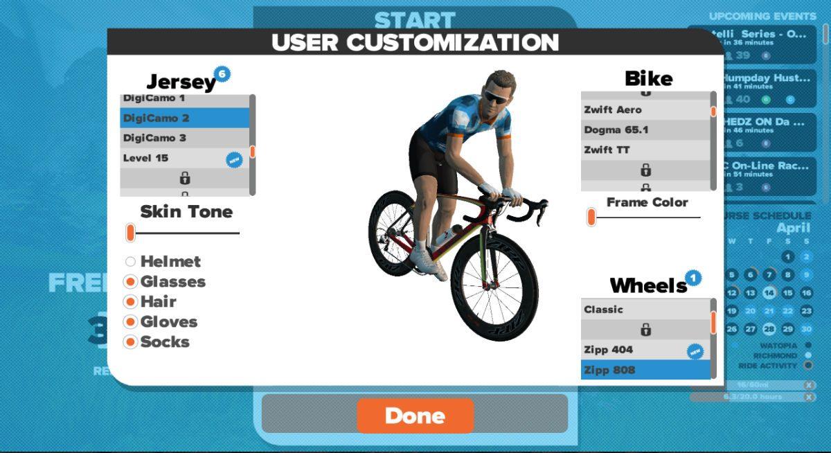 Lunettes de vélo, casque, vêtements, tout peut être personnalisé si vous souhaitez avoir une apparence impeccable dans ce monde virtuel.