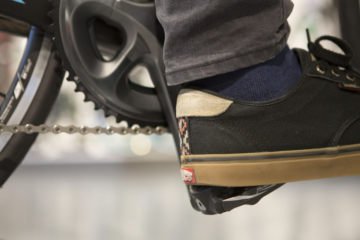 Put the center of your heel onto the center of your pedal.