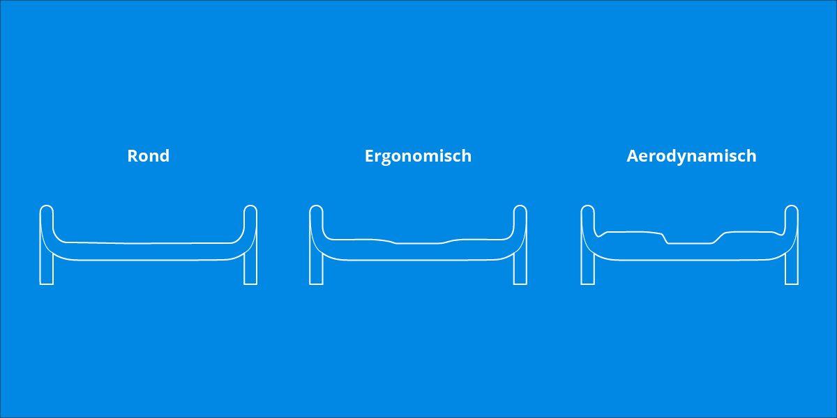 Het verschil tussen ronde, ergonomische en aerodynamische stuurvormen.