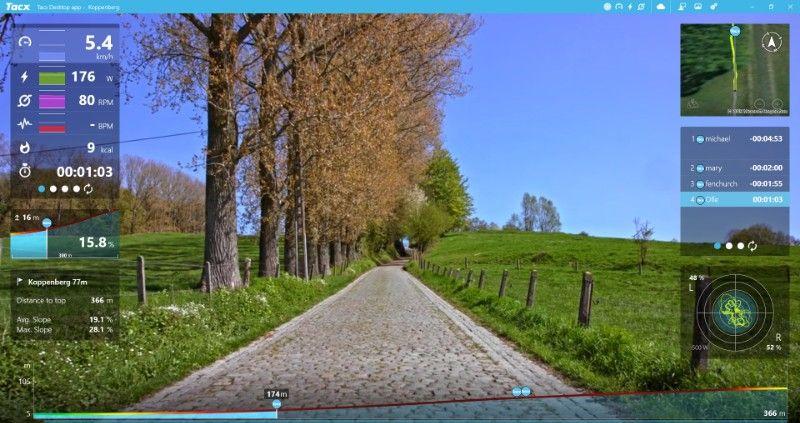 Vooral in de Tacx Desktop App voel je hoe krachtig Road Feel kan zijn.