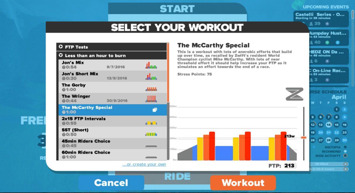 Pour chaque entraînement de vélo préinstallé, il est indiqué à quel type d'entraînement il se prête.