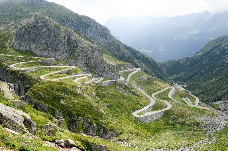 When it comes to the most beautiful view, another climb is the Gotthard Pass.