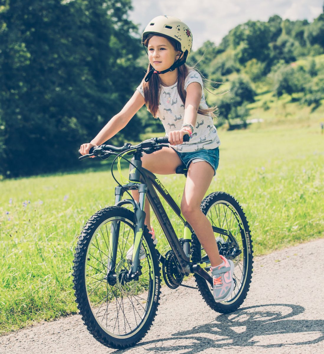 Never buy a helmet for a child to grow into, it has to fit perfectly. A bicycle helmet which is too loosely fitted will offer only a fraction of the protection you'd otherwise expect.