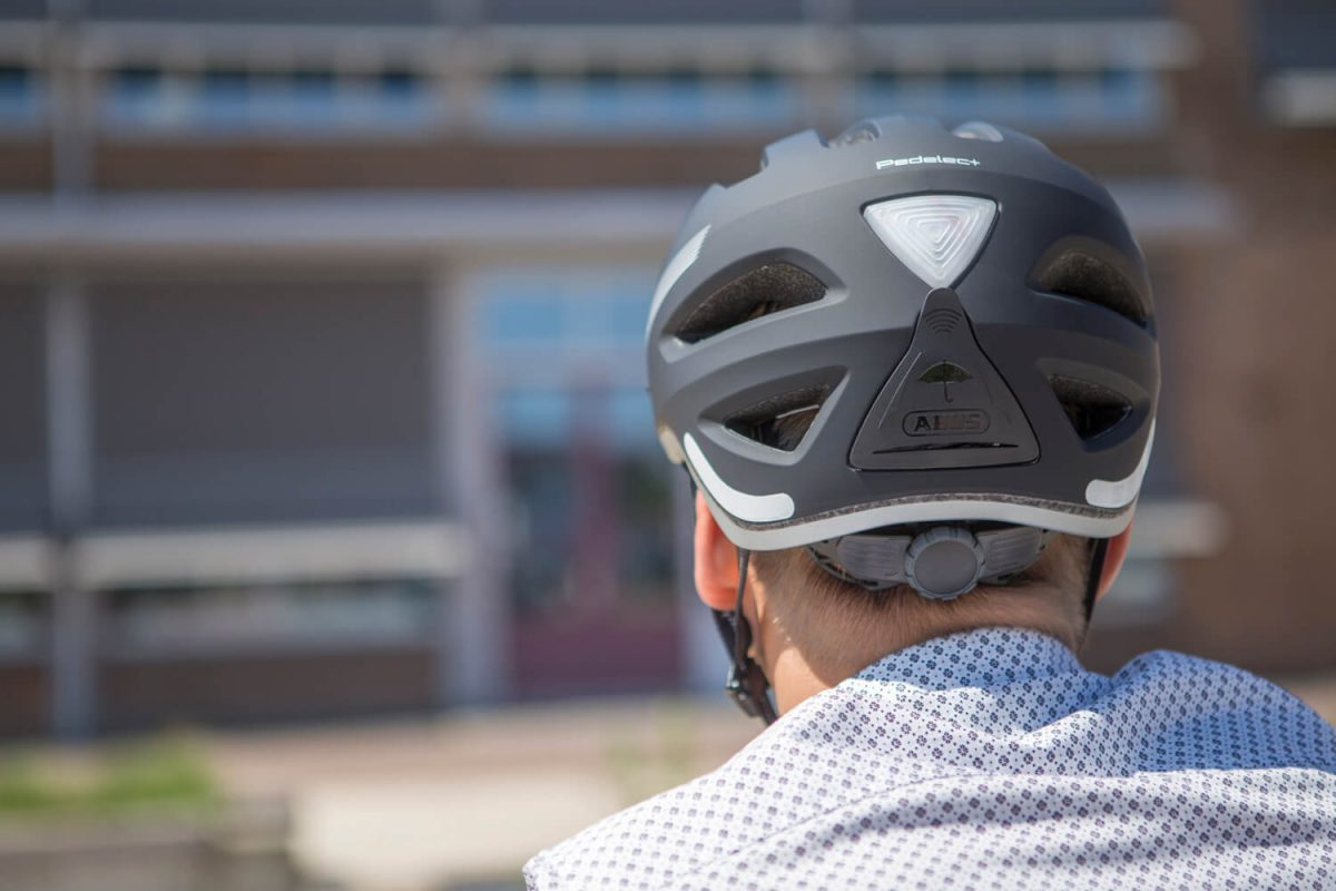 A bike helmet for a high-speed ebike is longer at the back.